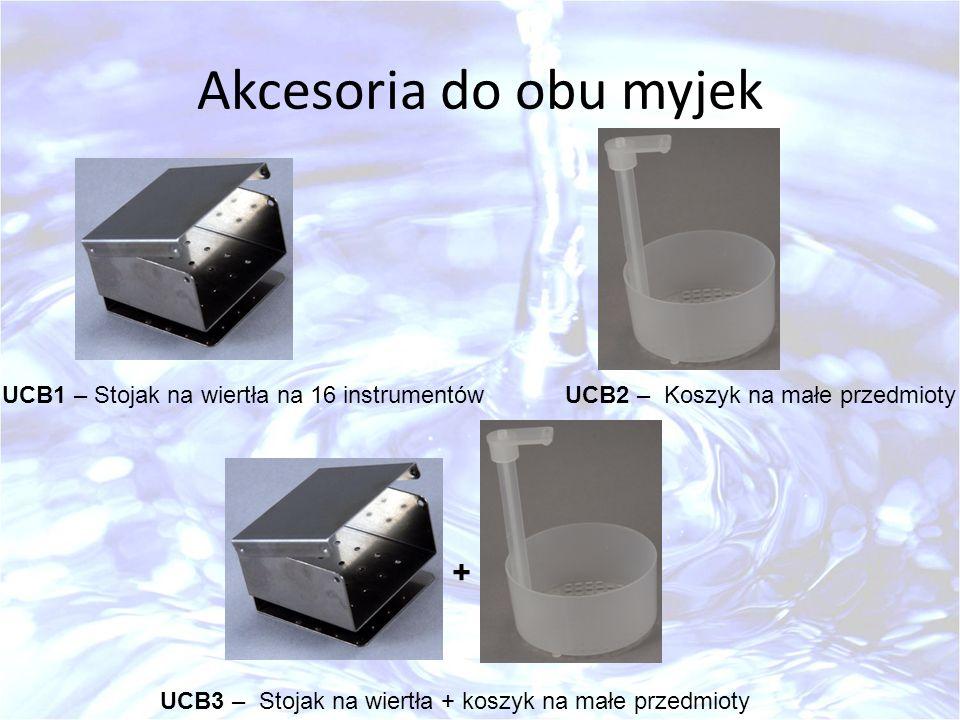 Akcesoria do obu myjek UCB1 – Stojak na wiertła na 16 instrumentów UCB3 – Stojak na wiertła + koszyk na małe przedmioty UCB2 – Koszyk na małe przedmio