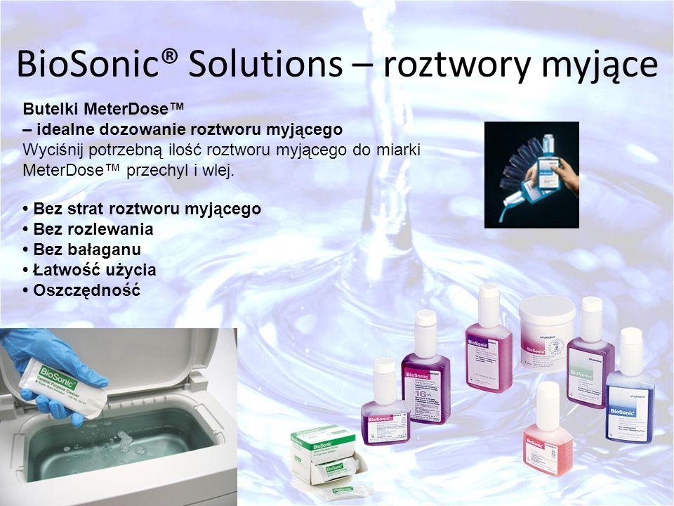 BioSonic® Solutions – roztwory myjące Butelki MeterDose – idealne dozowanie roztworu myjącego Wyciśnij potrzebną ilość roztworu myjącego do miarki Met