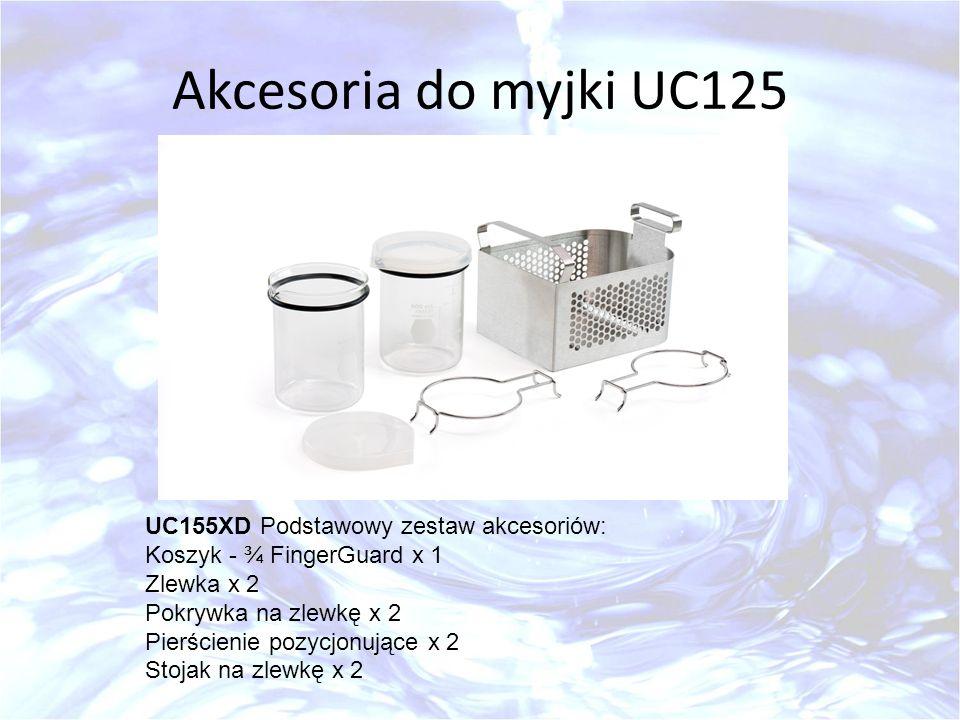 Akcesoria do myjki UC125 UC155XD Podstawowy zestaw akcesoriów: Koszyk - ¾ FingerGuard x 1 Zlewka x 2 Pokrywka na zlewkę x 2 Pierścienie pozycjonujące