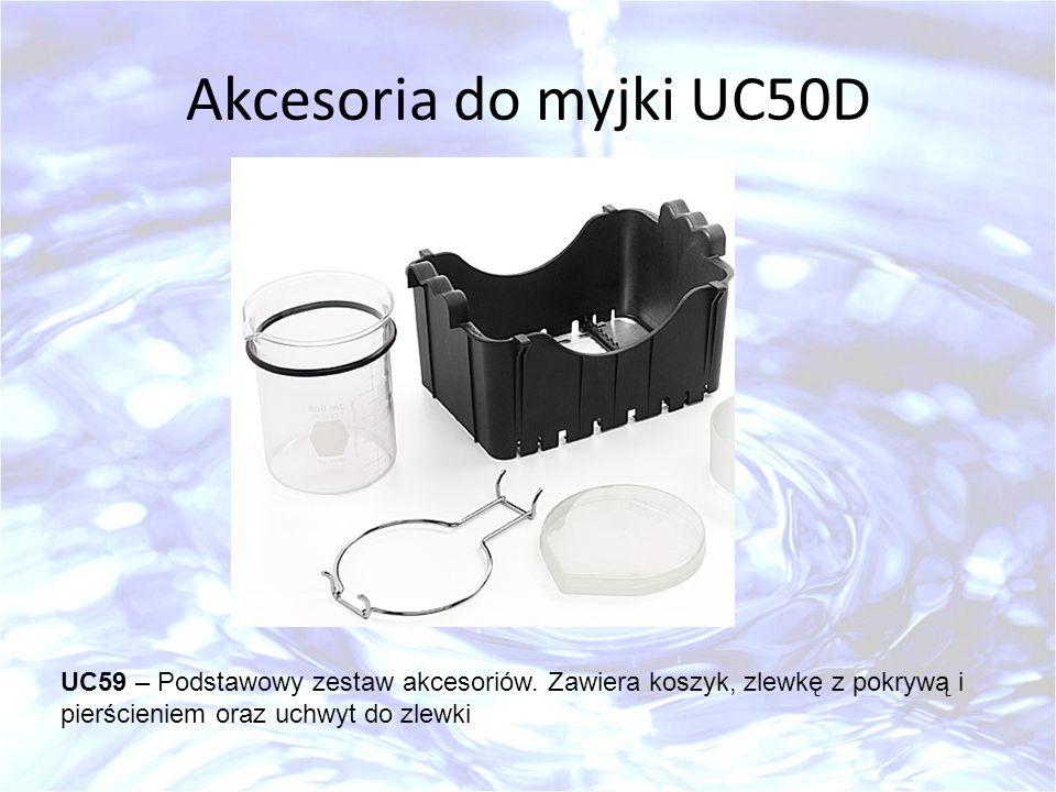 Akcesoria do myjki UC50D UC59 – Podstawowy zestaw akcesoriów. Zawiera koszyk, zlewkę z pokrywą i pierścieniem oraz uchwyt do zlewki