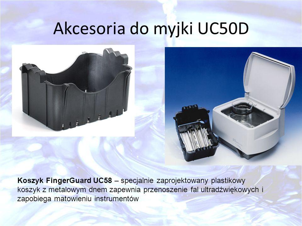 Akcesoria do myjki UC50D Koszyk FingerGuard UC58 – specjalnie zaprojektowany plastikowy koszyk z metalowym dnem zapewnia przenoszenie fal ultradźwięko