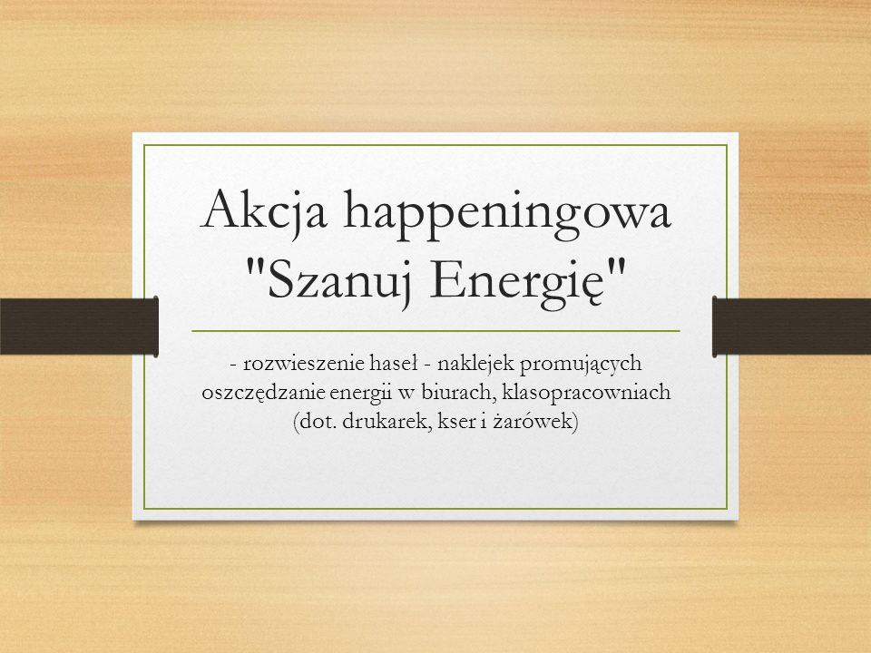 Akcja happeningowa Szanuj Energię - rozwieszenie haseł - naklejek promujących oszczędzanie energii w biurach, klasopracowniach (dot.