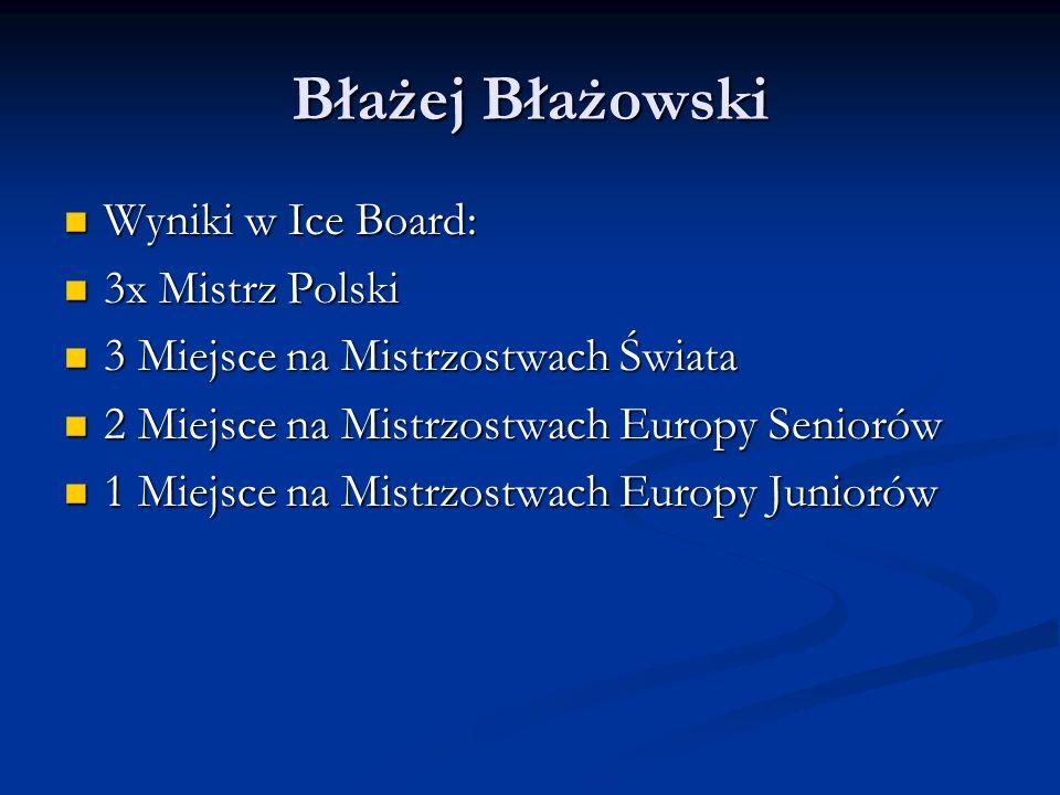 Błażej Błażowski Wyniki w Ice Board: Wyniki w Ice Board: 3x Mistrz Polski 3x Mistrz Polski 3 Miejsce na Mistrzostwach Świata 3 Miejsce na Mistrzostwach Świata 2 Miejsce na Mistrzostwach Europy Seniorów 2 Miejsce na Mistrzostwach Europy Seniorów 1 Miejsce na Mistrzostwach Europy Juniorów 1 Miejsce na Mistrzostwach Europy Juniorów
