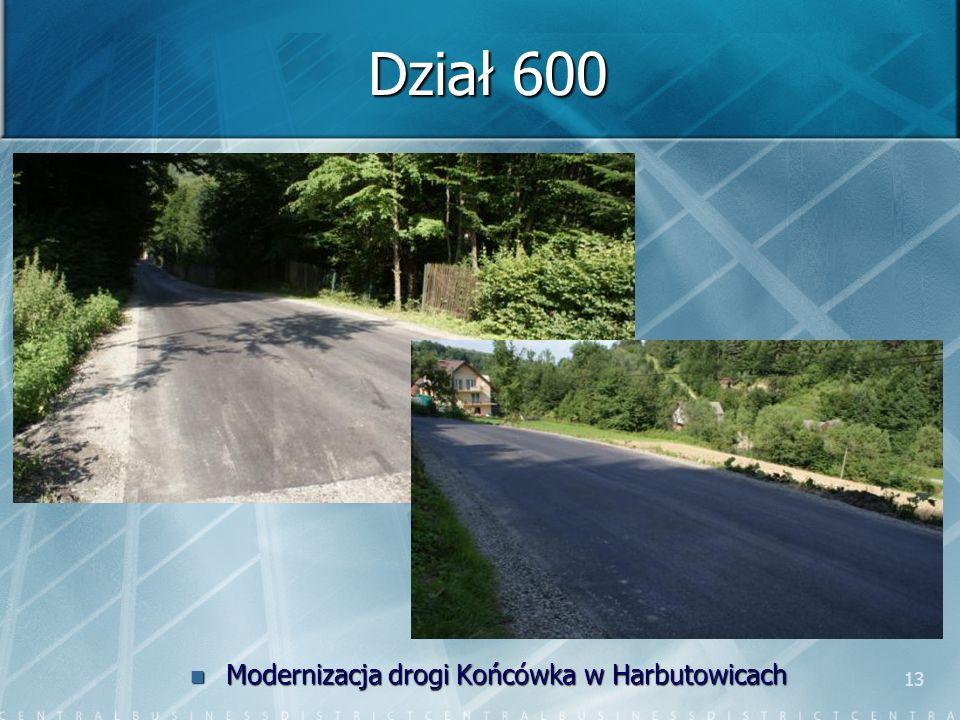 13 Dział 600 Modernizacja drogi Końcówka w Harbutowicach