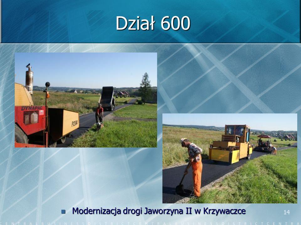 14 Dział 600 Modernizacja drogi Jaworzyna II w Krzywaczce