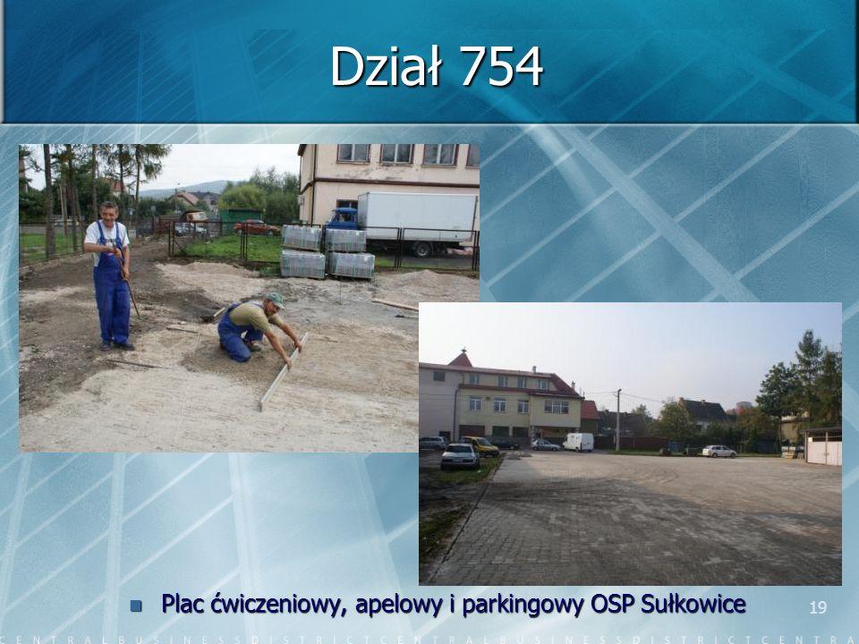 19 Dział 754 Plac ćwiczeniowy, apelowy i parkingowy OSP Sułkowice