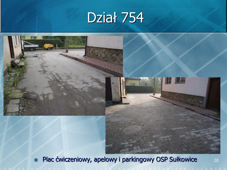 20 Dział 754 Plac ćwiczeniowy, apelowy i parkingowy OSP Sułkowice
