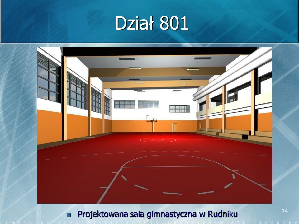 24 Dział 801 Projektowana sala gimnastyczna w Rudniku