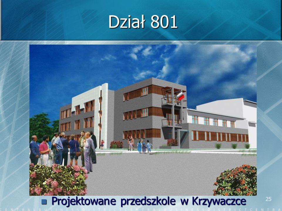 25 Dział 801 Projektowane przedszkole w Krzywaczce