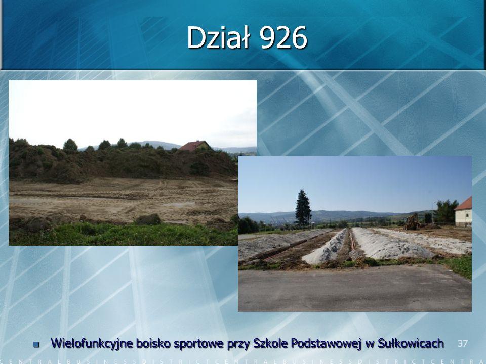 37 Dział 926 Wielofunkcyjne boisko sportowe przy Szkole Podstawowej w Sułkowicach