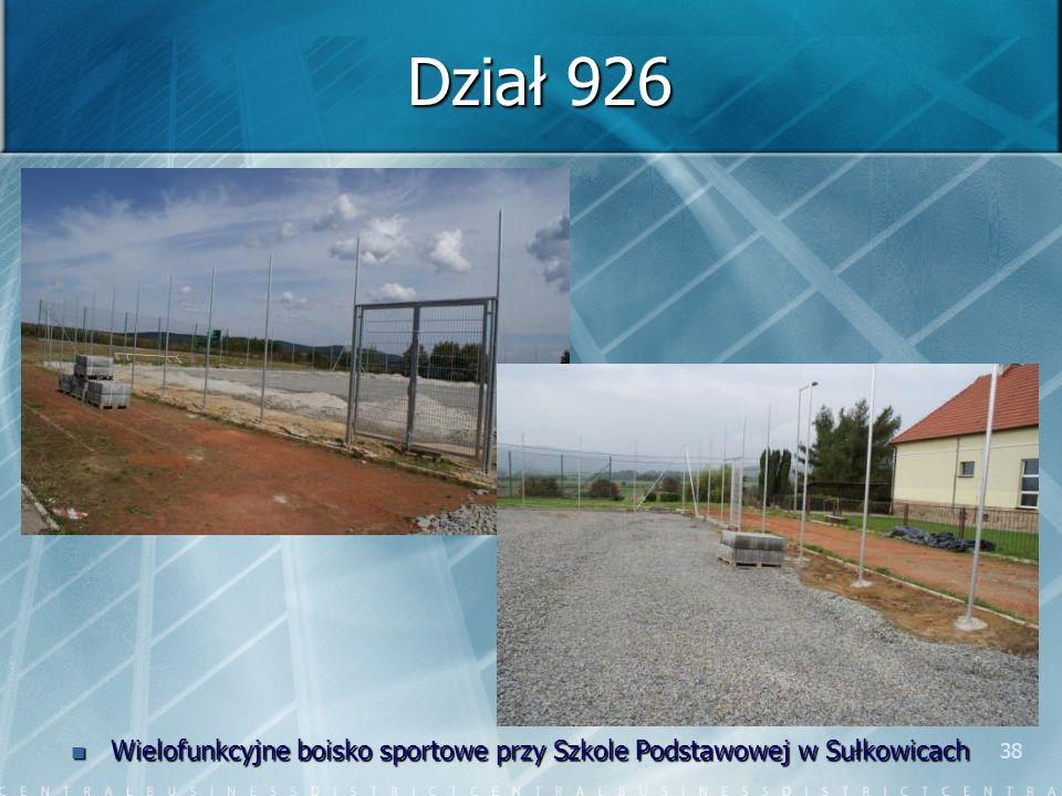38 Dział 926 Wielofunkcyjne boisko sportowe przy Szkole Podstawowej w Sułkowicach