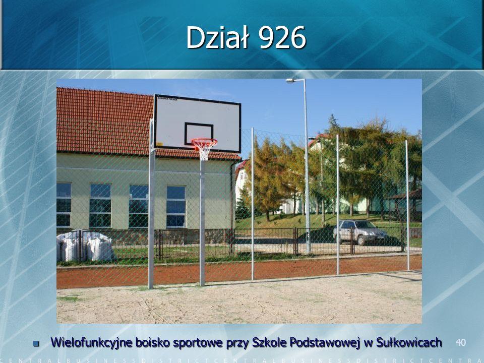 40 Dział 926 Wielofunkcyjne boisko sportowe przy Szkole Podstawowej w Sułkowicach