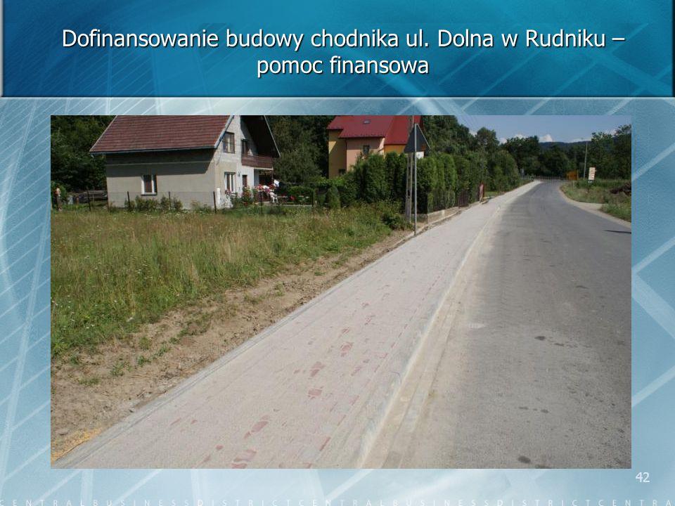 42 Dofinansowanie budowy chodnika ul. Dolna w Rudniku – pomoc finansowa