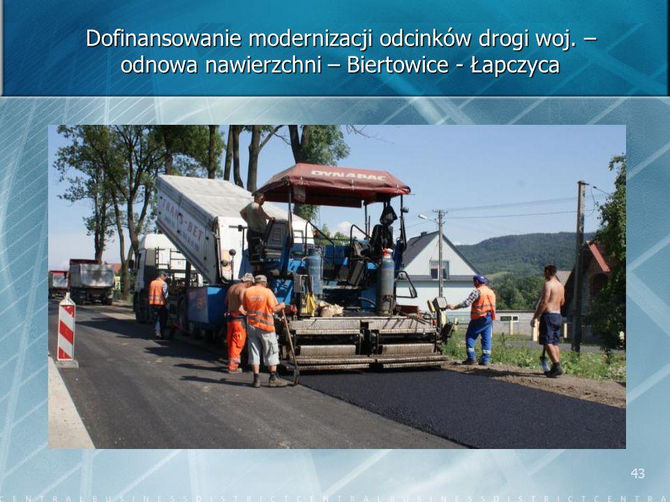 43 Dofinansowanie modernizacji odcinków drogi woj. – odnowa nawierzchni – Biertowice - Łapczyca