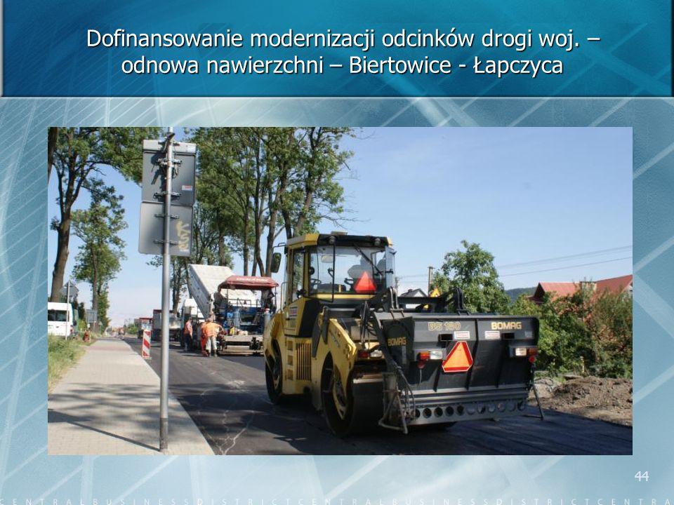 44 Dofinansowanie modernizacji odcinków drogi woj. – odnowa nawierzchni – Biertowice - Łapczyca