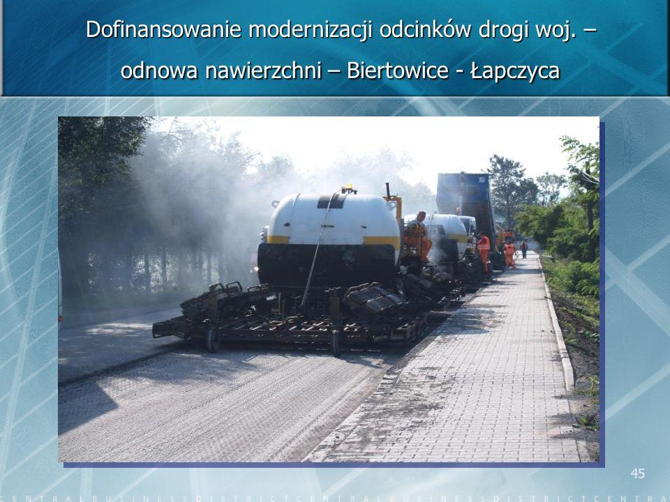 45 Dofinansowanie modernizacji odcinków drogi woj. – odnowa nawierzchni – Biertowice - Łapczyca