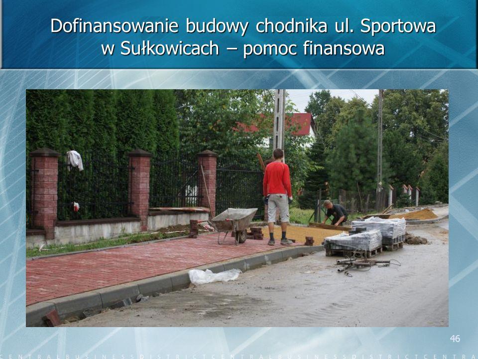 46 Dofinansowanie budowy chodnika ul. Sportowa w Sułkowicach – pomoc finansowa