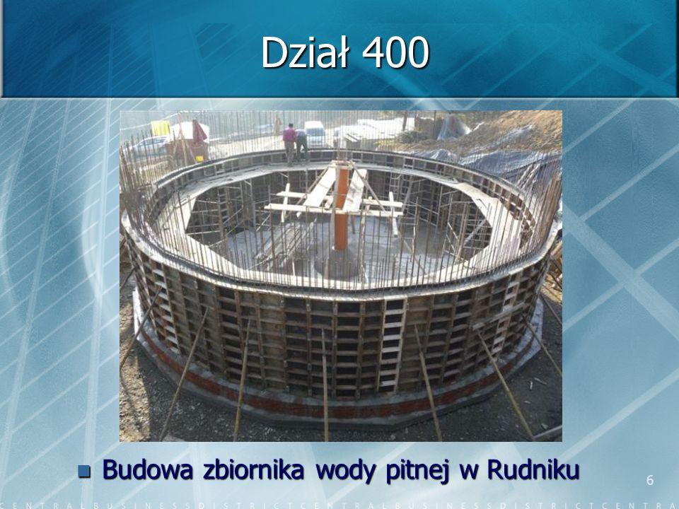 6 Dział 400 Budowa zbiornika wody pitnej w Rudniku