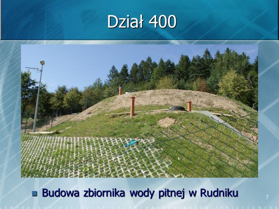7 Dział 400 Budowa zbiornika wody pitnej w Rudniku