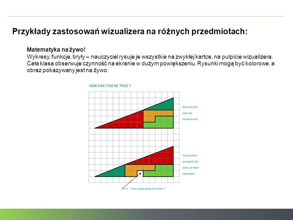 Przykłady zastosowań wizualizera na różnych przedmiotach: Matematyka na żywo.