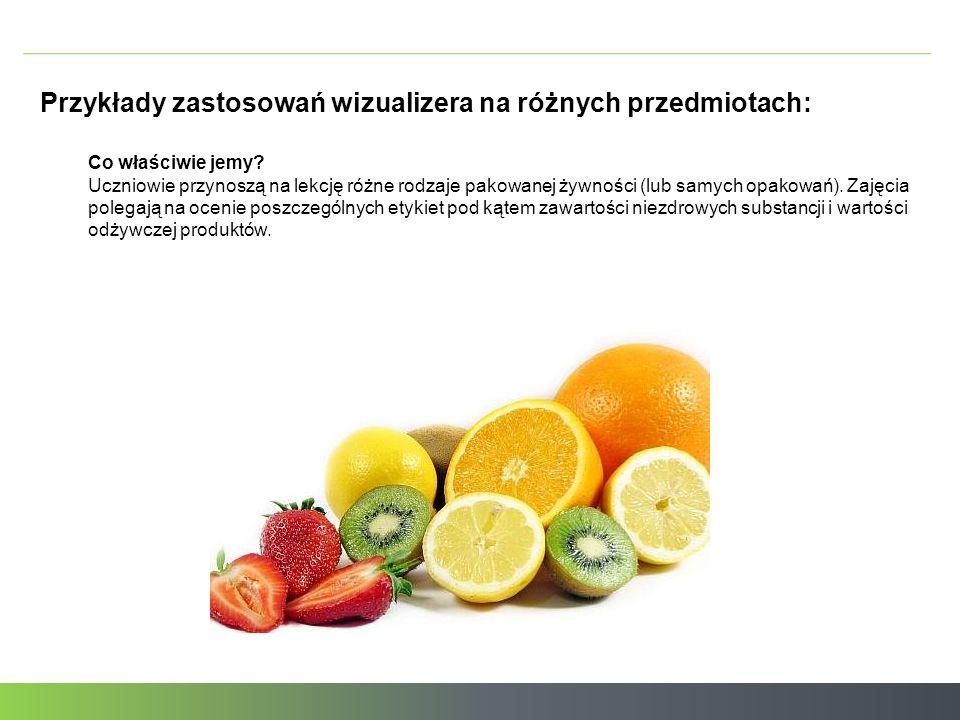 Przykłady zastosowań wizualizera na różnych przedmiotach: Co właściwie jemy.