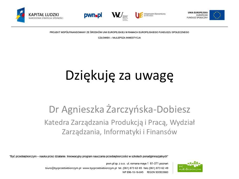 Dziękuję za uwagę Dr Agnieszka Żarczyńska-Dobiesz Katedra Zarządzania Produkcją i Pracą, Wydział Zarządzania, Informatyki i Finansów