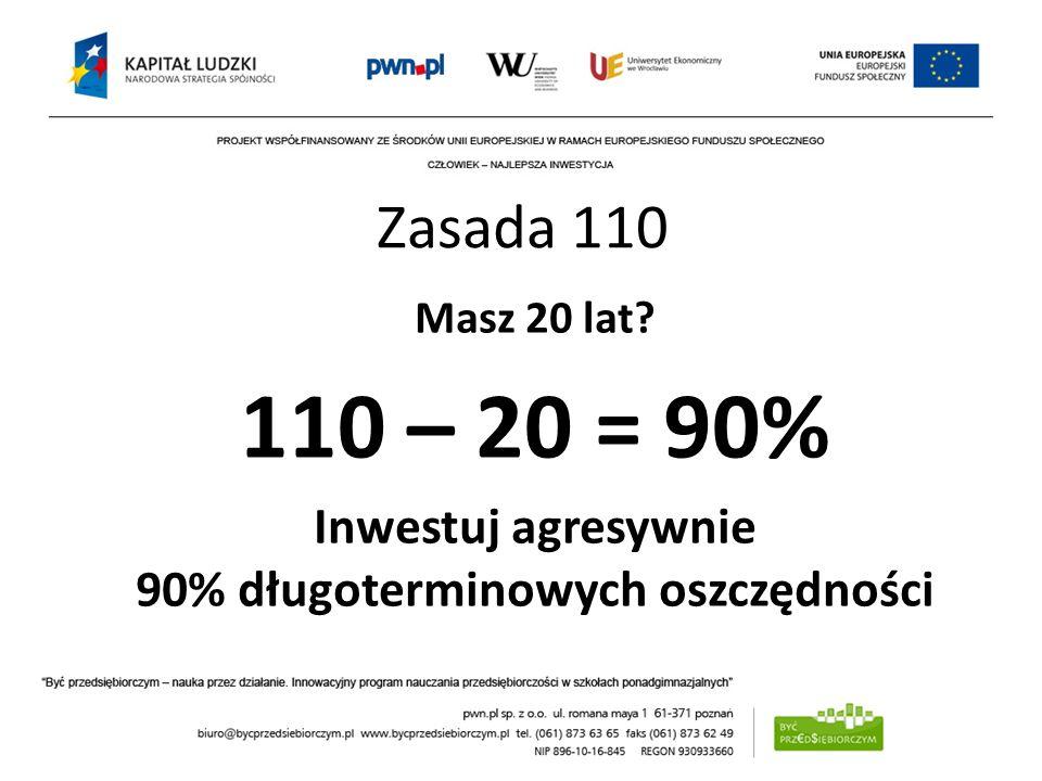 Masz 20 lat? 110 – 20 = 90% Inwestuj agresywnie 90% długoterminowych oszczędności Zasada 110