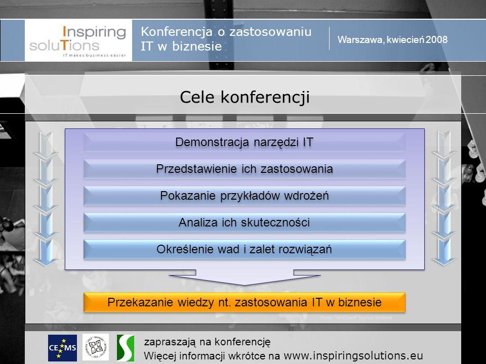 Konferencja o zastosowaniu IT w biznesie Warszawa, kwiecień 2008 zapraszają na konferencję Więcej informacji wkrótce na www.inspiringsolutions.eu Grupa odbiorców Studenci Najlepsze uczelnie ekonomiczne w Europie Kierunki ekonomiczne, zarządzanie, finanse w przyszłości Kadra zarządzająca & Niezależni przedsiębiorcy Użytkownicy Szkoleniowcy Inspiratorzy Twórcy zapotrzebowania
