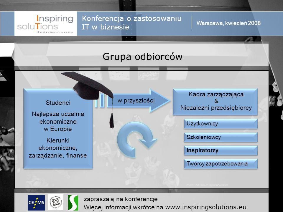Konferencja o zastosowaniu IT w biznesie Warszawa, kwiecień 2008 zapraszają na konferencję Więcej informacji wkrótce na www.inspiringsolutions.eu Zasięg grupy odbiorców – bez ograniczeń