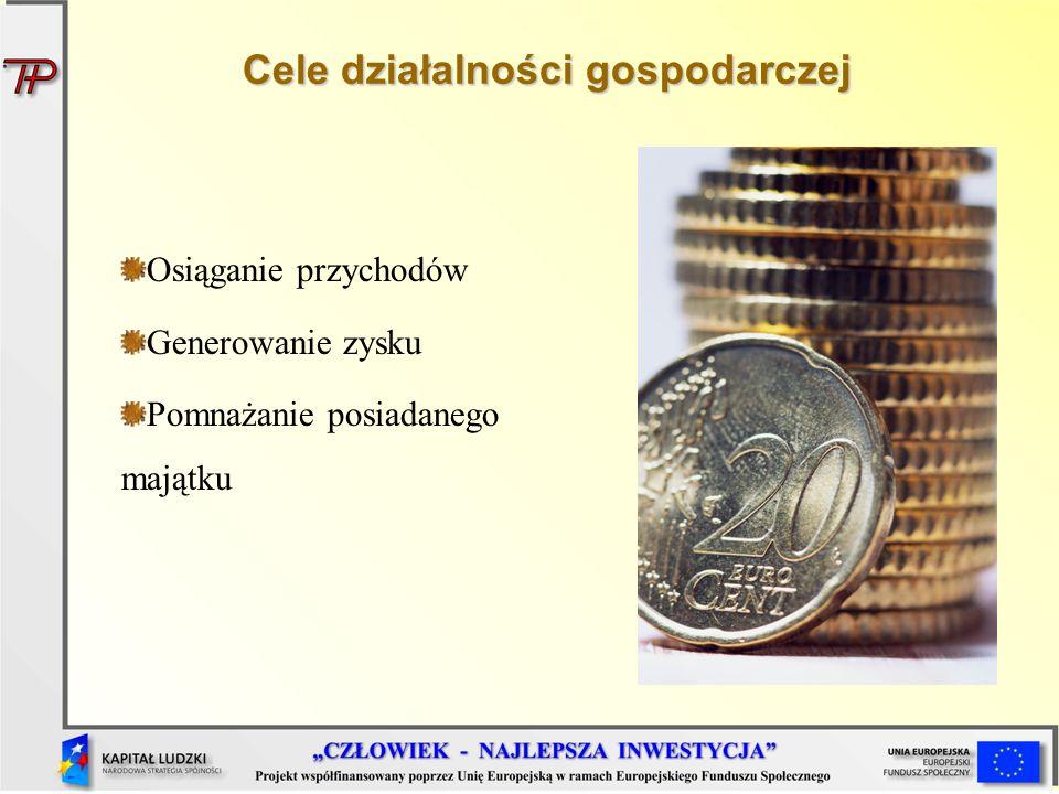 Cele działalności gospodarczej Osiąganie przychodów Generowanie zysku Pomnażanie posiadanego majątku