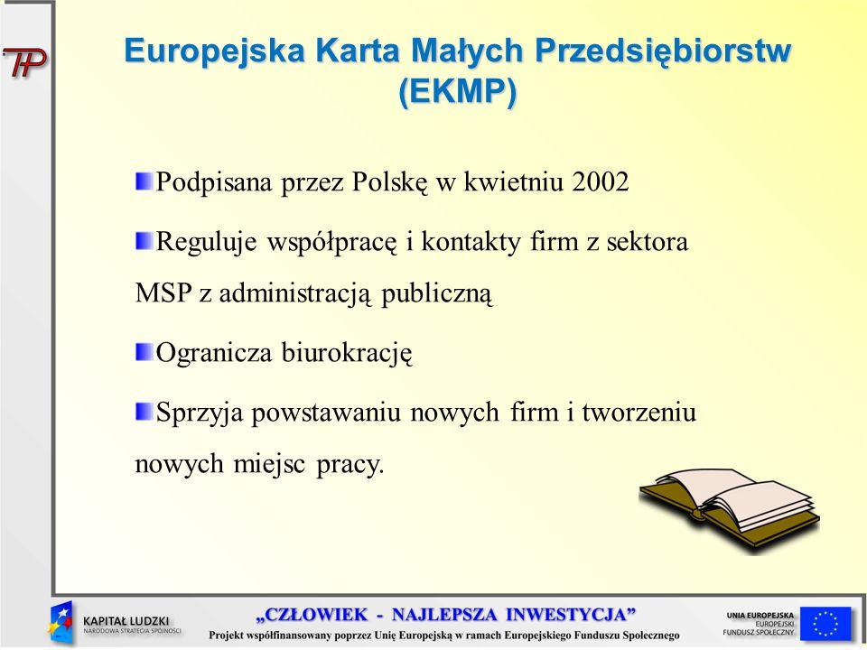 Europejska Karta Małych Przedsiębiorstw (EKMP) Podpisana przez Polskę w kwietniu 2002 Reguluje współpracę i kontakty firm z sektora MSP z administracj