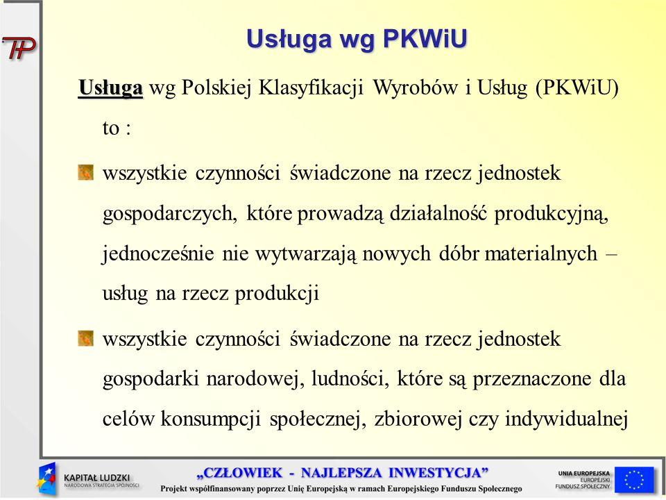 Usługa wg PKWiU Usługa Usługa wg Polskiej Klasyfikacji Wyrobów i Usług (PKWiU) to : wszystkie czynności świadczone na rzecz jednostek gospodarczych, k