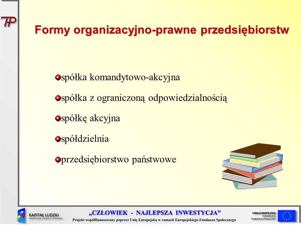 spółka komandytowo-akcyjna spółka z ograniczoną odpowiedzialnością spółkę akcyjna spółdzielnia przedsiębiorstwo państwowe Formy organizacyjno-prawne p