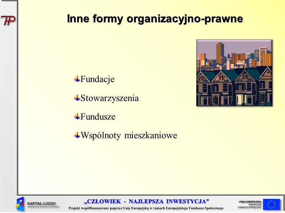 Inne formy organizacyjno-prawne Fundacje Stowarzyszenia Fundusze Wspólnoty mieszkaniowe