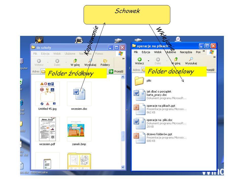 Operacja kopiowania lub przenoszenia przy pomocy przeciągania Lewym przyciskiem myszy Prawym przyciskiem myszy Zaznaczenie i przeciągnięcie prawym przyciskiem myszy obiektu powoduje wyświetlenie listy operacji, które można na nim wykonać Zaznaczenie i przeciągnięcie lewym przyciskiem myszy obiektu powoduje jego skopiowanie Zaznaczenie i przeciągnięcie lewym przyciskiem myszy obiektu powoduje jego przeniesienie Folder źródłowy i docelowy znajduje się na tym samym nośniku Folder źródłowy i docelowy znajduje się na różnych nośnikach