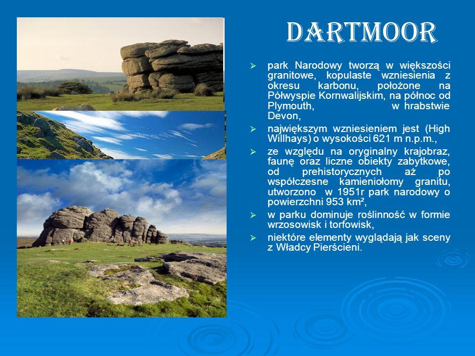 Dartmoor park Narodowy tworzą w większości granitowe, kopulaste wzniesienia z okresu karbonu, położone na Półwyspie Kornwalijskim, na północ od Plymou