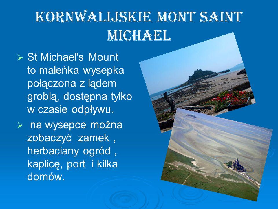 Kornwalijskie Mont Saint Michael St Michael's Mount to maleńka wysepka połączona z lądem groblą, dostępna tylko w czasie odpływu. na wysepce można zob
