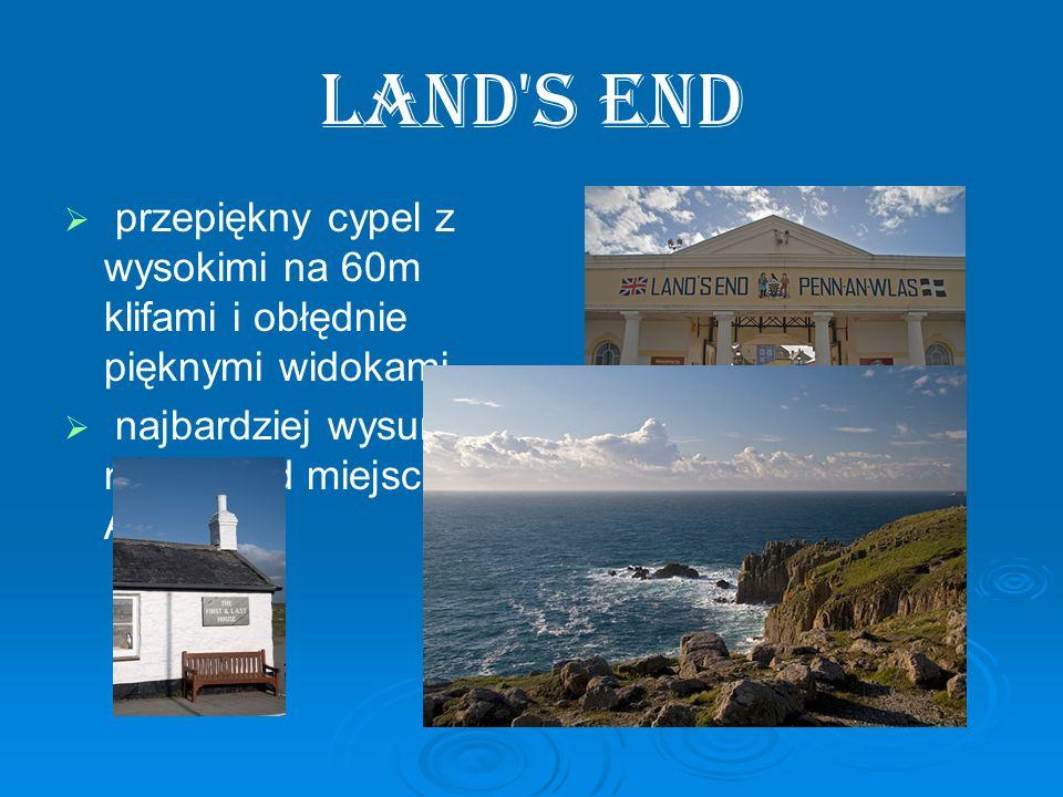 Land's End przepiękny cypel z wysokimi na 60m klifami i obłędnie pięknymi widokami. najbardziej wysunięte na zachód miejsce w Anglii.