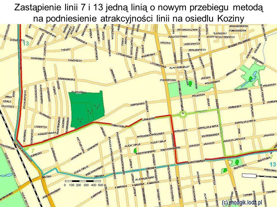 Zastąpienie linii 7 i 13 jedną linią o nowym przebiegu metodą na podniesienie atrakcyjności linii na osiedlu Koziny