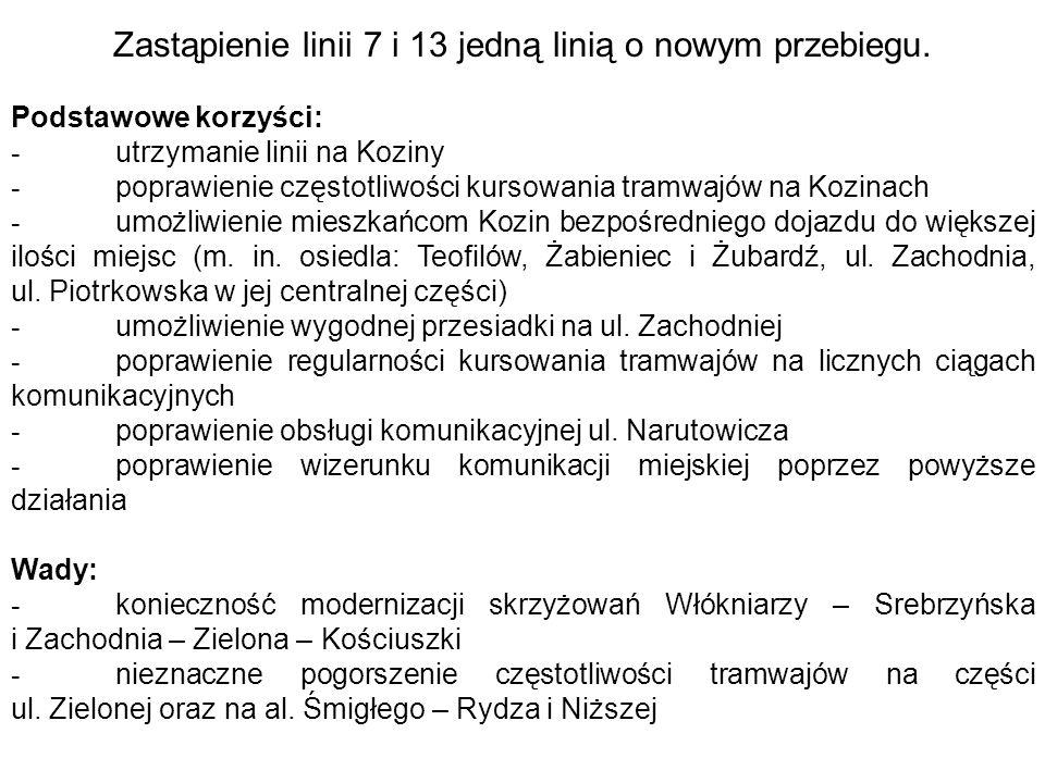 Podstawowe korzyści: - utrzymanie linii na Koziny - poprawienie częstotliwości kursowania tramwajów na Kozinach - umożliwienie mieszkańcom Kozin bezpo