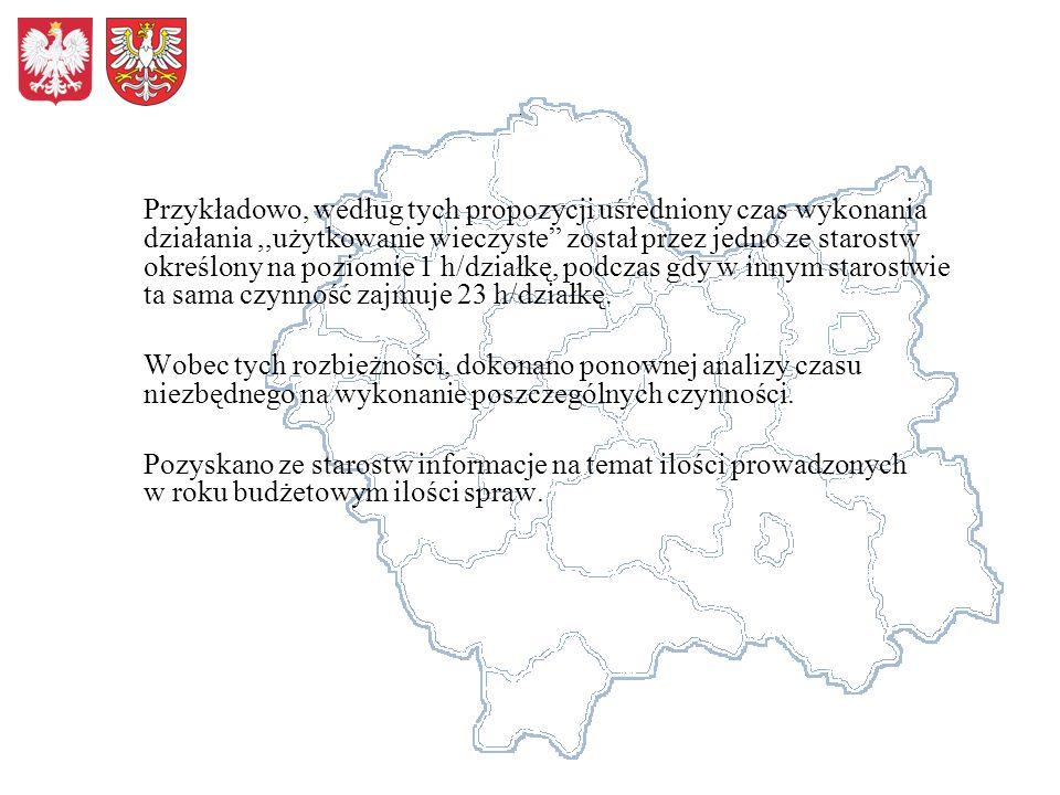 Otrzymaną liczbę godzin niezbędną do realizacji zadań pomnożono przez średni koszt roboczogodziny w Wydziale Skarbu Państwa i Nieruchomości Małopolskiego Urzędu Wojewódzkiego w Krakowie.