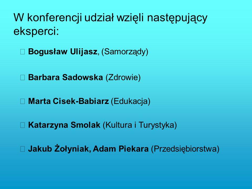 Barbara Sadowska (Zdrowie) Marta Cisek-Babiarz (Edukacja) Bogusław Ulijasz, (Samorządy) Katarzyna Smolak (Kultura i Turystyka) Jakub Żołyniak, Adam Pi