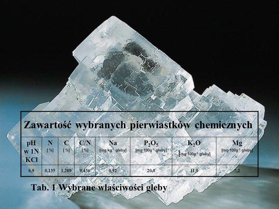 Tab. 1 Wybrane właściwości gleby Zawartość wybranych pierwiastków chemicznych pH w 1N KCl N [ %] C [ %] C/N [ %] Na [mg·kg -1 gleby] P 2 O 5 [mg·100g
