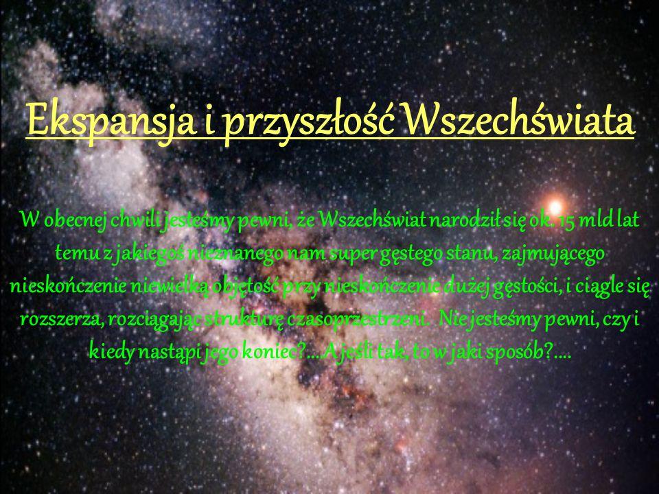 Ekspansja i przyszłość Wszechświata W obecnej chwili jesteśmy pewni, że Wszechświat narodził się ok. 15 mld lat temu z jakiegoś nieznanego nam super g