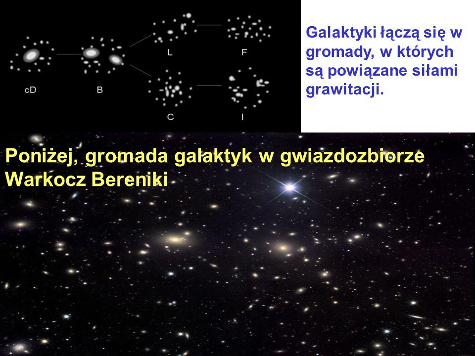 Galaktyki łączą się w gromady, w których są powiązane siłami grawitacji. Poniżej, gromada galaktyk w gwiazdozbiorze Warkocz Bereniki