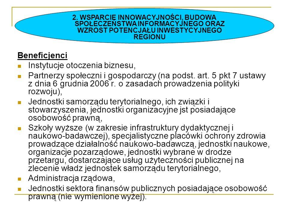 Beneficjenci Instytucje otoczenia biznesu, Partnerzy społeczni i gospodarczy (na podst. art. 5 pkt 7 ustawy z dnia 6 grudnia 2006 r. o zasadach prowad