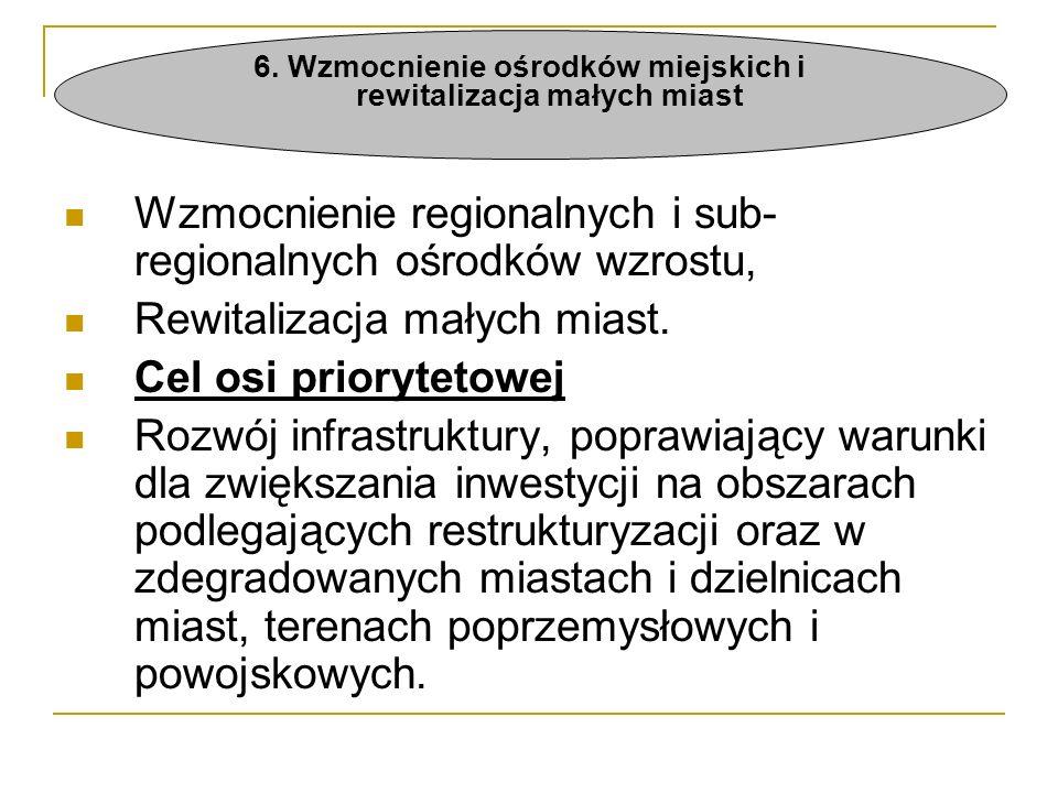 Wzmocnienie regionalnych i sub- regionalnych ośrodków wzrostu, Rewitalizacja małych miast.