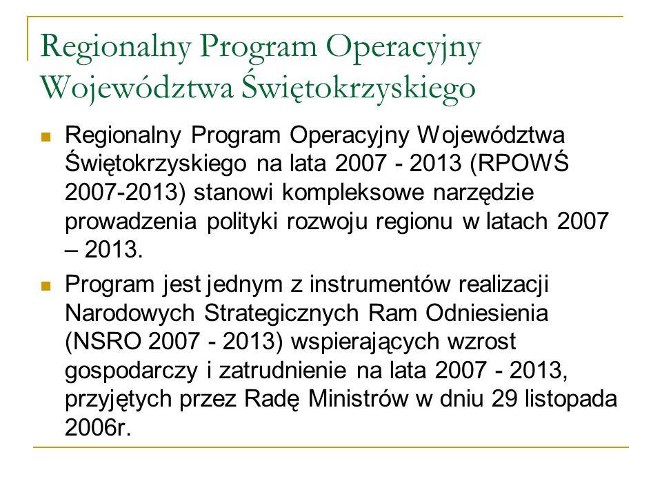 Regionalny Program Operacyjny Województwa Świętokrzyskiego Regionalny Program Operacyjny Województwa Świętokrzyskiego na lata 2007 - 2013 (RPOWŚ 2007-2013) stanowi kompleksowe narzędzie prowadzenia polityki rozwoju regionu w latach 2007 – 2013.
