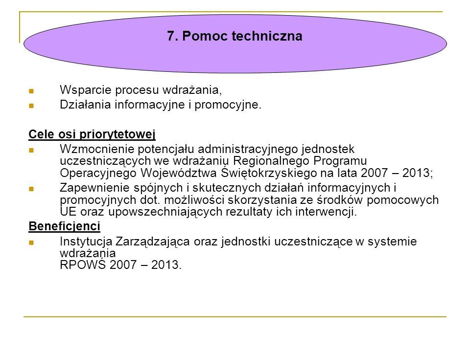 Wsparcie procesu wdrażania, Działania informacyjne i promocyjne. Cele osi priorytetowej Wzmocnienie potencjału administracyjnego jednostek uczestniczą