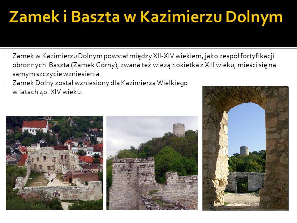 Zamek w Kazimierzu Dolnym powstał między XII-XIV wiekiem, jako zespół fortyfikacji obronnych. Baszta (Zamek Górny), zwana też wieżą Łokietka z XIII wi